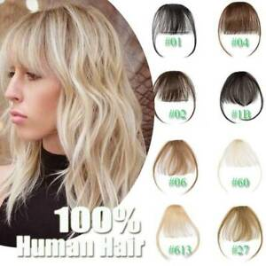Clip in 100% Remy Human Hair Thin Air Neat Bangs Topper Piece Fringe Hairpiece U