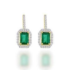 Fancy Emerald Cut Emerald Dangle Earrings with Diamond Halo 14k  Yellow Gold