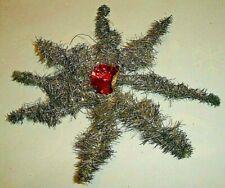 Antique Silver German Tinsel Star Christmas Tree Ornament