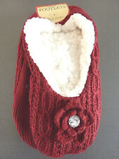 Damen Hausschuhe Fleece Hüttensocken Slipper Strick-Socken 36-37-38 Warm Primark