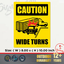 Caution Wide Right Turns Sign Safety Decal Vinyl Sticker for Lorry Trailer Truck