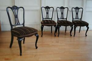 Handsome set of C19th Antique Edwardian Dining Chairs - Art Nouveau Styling