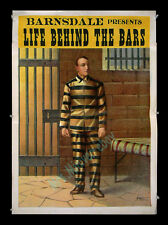 LIFE BEHIND THE BARS 1903 Movie Poster by BARNSDALE'S ELECTRIC MOVING PICTURE CO