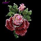 Rose Flower Brooch Crystals Rhiestone Broach Pins for Women Jewelry Gifts 6635