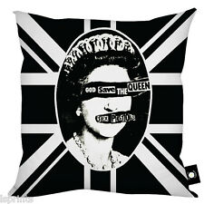"BLACK & WHITE UNION JACK QUEEN DESIGN CUSHION IDEAL GIFT HOME DECOR 18"" X 18"""