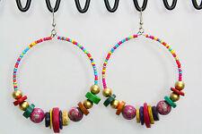 "Dangle Drop Earrings Colorful Beaded Circle Loop Pink Multi Color Bead Big 2"""