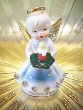 RARE VTG Christmas Rhinestone December Angel Holds Candlestick Lantern Figurine