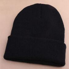 EG_Herren Damen Beanie Strick Ski-Mütze Hip-Hop leer schwarz Winter Warm Unisex