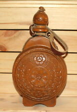 Vintage folk floral carved wood wine/brandy bottle pitcher