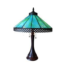 """Handcrafted Mission Tiffany Style Stained Glass Table Lamp 16"""" Shade 23"""" Tall"""