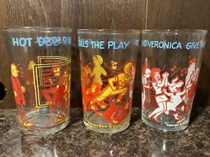 LOT OF 3- VINTAGE 1971, 1973 ARCHIE GLASSES HOT DOG, BETTY AND VERONICA, SABRINA