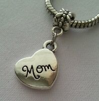 Mom Sideways Heart Cursive Mother Dangle Charm Bead Silver for European Bracelet