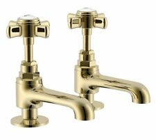 Cooke & Lewis Classic Hot & cold basin pillar tap Traditional Brass Gold