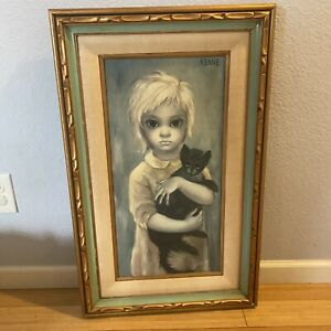 "Vintage Margaret Keane ""The Stray"" Double Framed Texture Giclee Print On Canvas"