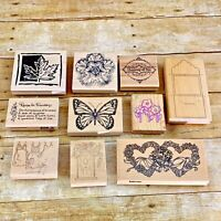 10 Big Wooden Rubber Stamp Lot Words Phrases Flowers, Butterflies, Hearts