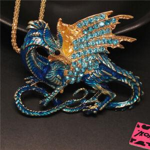 New Betsey Johnson Blue Rhinestone Magic Dragon Crystal Pendant Chain Necklace