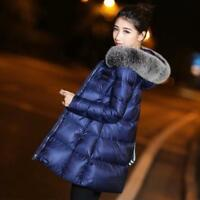 Winter New Womens Real Fur Collar Hooded Warm Down A-line Jacket Coat Parka