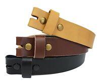 LS-Black Snap On Cowhide Full grain Leather Belt Strap Snap 34MM