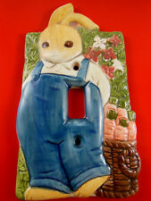 Takahashi Ceramic rabbit in Blue overalls Light Switch Plate Cover