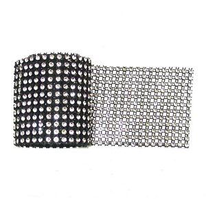 "36"" x 12 Row Sparkling Black Silver Diamante Ribbon Cake Crafts Flower Wrap"