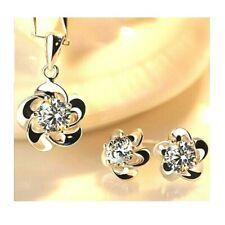 925 Sterling Silver Cubic Zirconia Necklace Pendant and Stud Earring Set **UK**