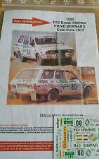 Decals 1/24 réf 1090 Renault 12 break Sinpar Prive Bernard Côte Cote 1977