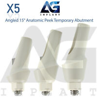 5 Angled 15° Anatomic Peek Temporary Abutment For Dental Implant Internal Hex