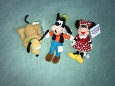 New listing Disney Store Beanie Baby Plush Toy Minnie Mouse Goofy Pluto Lot Of 3