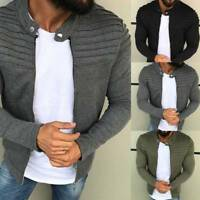 Mens Open-Front Knitted Zipper Cardigan Long Sleeve Casual Sweater Jacket Coat