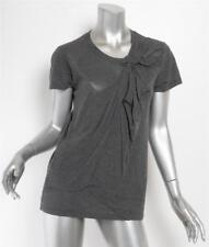 YVES SAINT LAURENT YSL Heather Gray Cotton Twist Front Short Sleeve T-Shirt 6-36