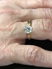 Zirconia Solitaire Engagement Ring Sz 6-Read 14 K Yellow Gold & Cubic