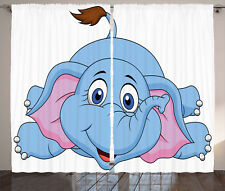 Cartoon Curtains Baby Elephant Children Window Drapes 2 Panel Set 108x84 Inches