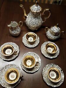 Kaffee- bzw. Teeservice Mitterteich Bavaria, 15 teilig, Weiß mit Goldrand