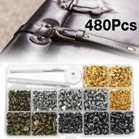 480pcs Leather Rivets Set Double Cap Metal Studs w/ Fixing Tool & Hole Plier New