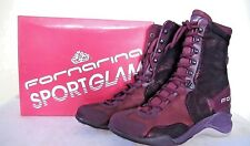 NEW Fornarina Boot Sneaker Woman Leather/Textile Boots Ankle Wedge 6.5/ 37