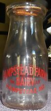 Vintage Hampstead Farms Maryland Dairy 1/2 Pint Milk Bottle with Matching Cap