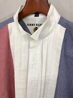 Vintage Tommy Hilfiger Men's Red/Blue/White Button Down Shirt 100% Cotton 16/33
