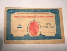 c1972 Political Presidential Race $1,000 McGovern Note - Candidates, Eagleton