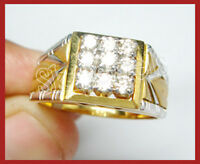 0.63CT NATURAL ROUND DIAMOND 14K SOLID YELLOW GOLD MEN WEDDING RING SIZE 9 TO 11
