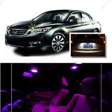 For Honda Accord 2003-2012 Pink LED Interior Kit + Xenon White License Light LED