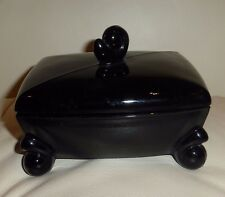 VINTAGE TIFFIN EBONY GLASS LID COVER FOOTED VANITY BOX WITH ORIGINAL LABEL