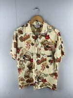 Players Mens Brown Vintage Short Sleeve Hawaiian Button Up Shirt Size Medium