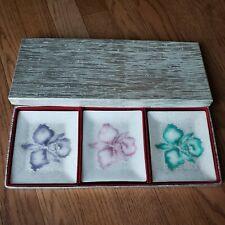 Vintage Tutanka Nib Japanese Floral Enamel Cloisonne Plates #698394 Trays Set 3
