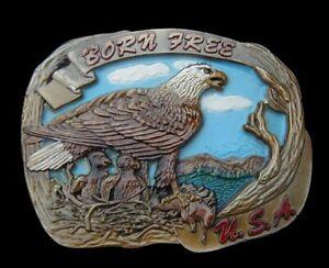 GORGEOUS BORN FREE USA EAGLE BELT BUCKLE VINTAGE 1987 INDIANA METAL CRAFT