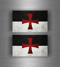 2x flag Sticker car biker maltese shield airsoft crusader templar knights cross