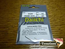 25 X Daiichi 2220 #10 Long Streamer Hooks for Wet Flies & Nymphs - Fly Tying