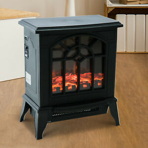 Electric Fireplace Heater Black Stove w/ LED Flame Effect Freestanding