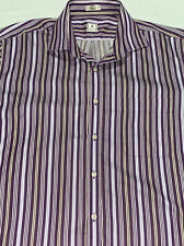 Peter Millar Mens Purple Striped L/S B/F Shirt Plaid Long Sleeve Size Large