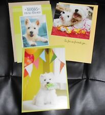New ListingLot of 3 Hallmark ☀� West Highland White Terrier Dogs☀� Birthday + Thank Cards