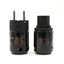 ONE Set Rhodium Plated C-004 IEC + P-004E Schuko Eu plug For Audio Connector